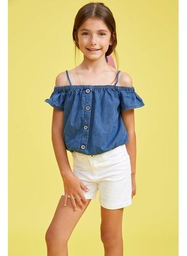 DeFacto Kız Çocuk Fırfırlı Kolsuz Jean Bluz Mavi